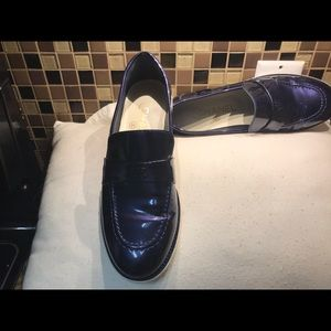 Chanel Blue Patent Leather Loafers